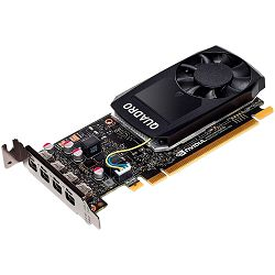 NVIDIA Video Card Quadro P1000 GDDR5 4GB/128bit, 640 CUDA Cores, PCI-E 3.0 x16, 4xminiDP, Cooler, Single Slot, Low Profile (4xmDP-DP Cables, Full Size and Low Profile Bracket incuded)