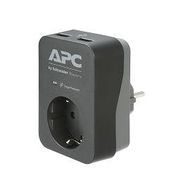 APC Ess SurgeArrest 1 Outlet 2 USB Port Black 230V, PME1WU2B-GR
