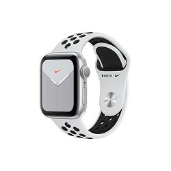 Apple Watch Nike Series 5 GPS, 40mm Silver Aluminium Case with Pure Platinum/Black Nike Sport Band, mx3r2vr/a