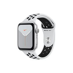 Apple Watch Nike Series 5 GPS, 44mm Silver Aluminium Case with Pure Platinum/Black Nike Sport Band - S/M & M/L, mx3v2vr/a
