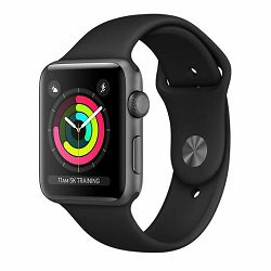 Apple Watch Series 3 GPS, 38mm Space Grey Aluminium Case with Black Sport Band, mtf02cn/a