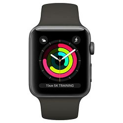 Apple Watch Series 3 GPS, 42mm Space Grey Aluminium Case with Black Sport Band, mtf32mp/a