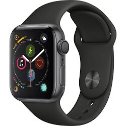 Apple Watch Series 4 GPS, 40mm Space Grey Aluminium Case with Black Sport Band, mu662vr/a