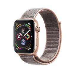 Apple Watch Series 4 GPS, 44mm Gold Aluminium Case with Pink Sand Sport Loop, mu6g2vr/a