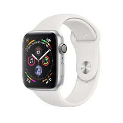Apple Watch Series 4 GPS, 44mm Silver Aluminium Case with White Sport Band, mu6a2vr/a