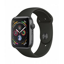 Apple Watch Series 4 GPS, 44mm Space Grey Aluminium Case with Black Sport Band, mu6d2vr/a