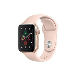 Apple Watch Series 5 GPS, 40mm Gold Aluminium Case with Pink Sand Sport Band, mwv72vr/a