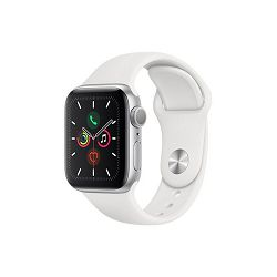 Apple Watch Series 5 GPS, 40mm Silver Aluminium Case with White Sport Band, mwv62vr/a