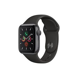 Apple Watch Series 5 GPS, 40mm Space Grey Aluminium Case with Black Sport Band, mwv82vr/a