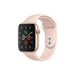 Apple Watch Series 5 GPS, 44mm Gold Aluminium Case with Pink Sand Sport Band - S/M & M/L, mwve2vr/a