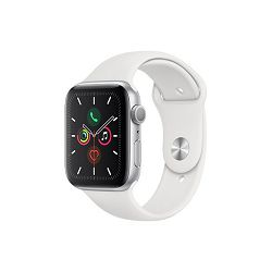 Apple Watch Series 5 GPS, 44mm Silver Aluminium Case with White Sport Band - S/M & M/L, mwvd2vr/a