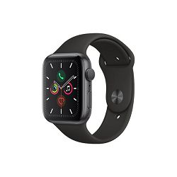 Apple Watch Series 5 GPS, 44mm Space Grey Aluminium Case with Black Sport Band - S/M & M/L, mwvf2vr/a