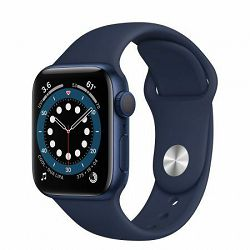 Apple Watch Series 6 40mm Blue Aluminium Case with Deep Navy Sport Band - Regular, mg143vr/a