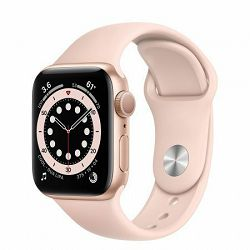 Apple Watch Series 6 40mm Gold Aluminium Case with Pink Sand Sport Band - Regular, mg123vr/a