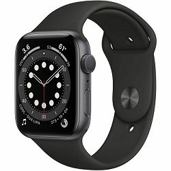 Apple Watch Series 6 40mm Space Gray Aluminium Case with Black Sport Band - Regular, mg133vr/a