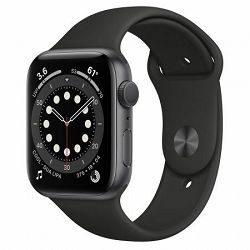 Apple Watch Series 6 44mm Space Gray Aluminium Case with Black Sport Band - Regular, m00h3vr/a
