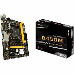 BIOSTAR Main Board Desktop B450, AM4, 2xDDR4, VGA/HDMI, 1xPCIe x16, 2xPCIe x1, 1xM.2, 4xSATA, GbE LAN, mATX