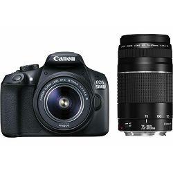 Canon EOS 1300D + 18-55 + 75-300 KIT DSLR digitalni fotoaparat i objektivi EF-S 18-55mm F3.5-5.6 EF 75-300mm f/4-5.6 III double zoom