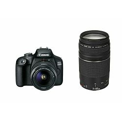 Canon EOS 4000D + 18-55 DC III + 75-300 KIT Black DSLR Digitalni fotoaparat s dva objektiva EF-S 18-55mm f/3.5-5.6 i EF 75-300mm f/4-5.6 III