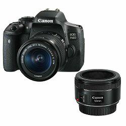 Canon EOS 750D 18-55 IS STM + 50mm 1.8 STM DSLR Digitalni fotoaparat s dva objektiva EF-S 18-55mm f/3.5-5.6 i EF 50 f/1.8