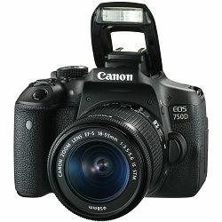Canon EOS 750D + 18-55 IS STM DSLR digitalni fotoaparat s objektivom EF-S 18-55mm f/3.5-5.6