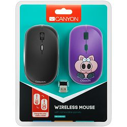 CANYON 2.4GHz wireless Optical Mouse with 4 buttons, DPI 800/1200/1600, 1 additional cover(Pig Boxer), black, 103*58*32mm, 0.087kg