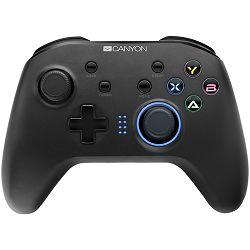 Canyon 2.4G Wireless Controller with  built-in 600mah battery, 1M Type-C charging cable ,6 axis motion sensor support nintendo switch ,android,PC X-input/D-input,ps3,normal size dongle,black