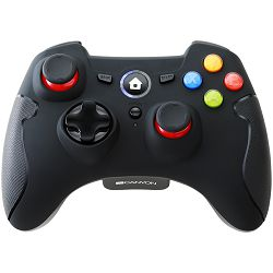 Canyon 2.4G Wireless  Controller with Dual Motor, Rubber coating,    2PCS AA Alkaline battery   ,support  PC X-input mode/D-input mode, PS3, Android/nano size dongle,black