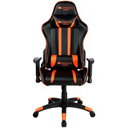 Canyon Gaming chair, PU leather, Cold molded foam, Metal Frame,  Butterfly mechanism, 90-150 dgree, 2D armrest, Class 4 gas lift, Nylon 5 Stars Base, 60mm PU caster, black+Orange.