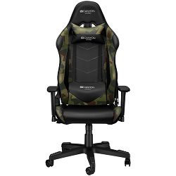Canyon Gaming chair, PU leather, Original foam and Cold molded foam, Metal Frame, Butterfly mechanism, 90-165 dgree, 3D armrest, Class 4 gas lift, Nylon 5 Stars Base, 60mm PU caster, Black+camouflage