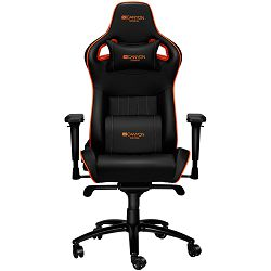 Canyon Gaming chair, PU leather, Cold molded foam, Metal Frame , Frog mechanism, 90-165 dgree, 4D armrest, Tilt Lock, Class 4 gas lift, metal 5 Stars Base, 60mm PU caster,black+Orange.