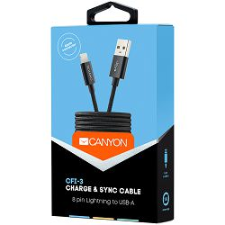 Canyon Lightning USB Cable for Apple, braided, metallic shell, cable length 1m, Black, 14.9*6.8*1000mm, 0.02kg