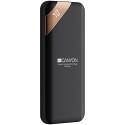 CANYON Power bank 5000mAh Li-poly battery, Input 5V/2A, Output 5V/2.1A, with Smart IC and power display, Black, USB cable length 0.25m, 115*50*12mm, 0.120Kg
