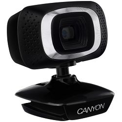 CANYON 720P HD webcam with USB2.0. connector, 360° rotary view scope, 1.0Mega pixels, Resolution 1280*720, cable length 1.25m, Black, 62.2x46.5x57.8mm, 0.074kg