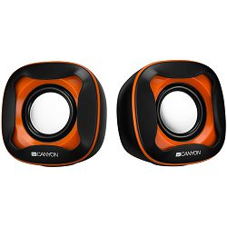 Canyon USB 2.0 Speaker, black +orange 021C, 2*3W 4 Ohm, ABS, 1.2m cable with USB2.0 & 3.5mm audio connector