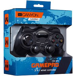 CANYON 3in1 wired controller gamepad, hand-cooling, vibration feedback, dual tigger and rubberized surface(Compatible with PC, PS2, PS3)