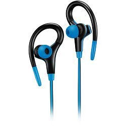 Canyon stereo sport earphones with microphone, 1.2m flat cable, blue