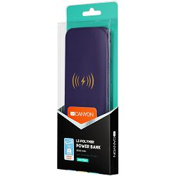 Canyon Power bank builted in wireless charger function, Noveo 9060100/8000mAh Polymer, input 5V/2A(Type C and Micro USB), output 5V/2A(2*USB), Wireless 5W, with 30cm micro USB cable