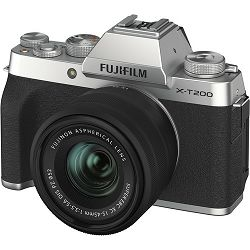 FUJIFILM X-T200 XC 15-45mm F3.5-5.6 OIS PZ SILVER (X-T200 15-45mm Kit Body+lens, 24MP APS-C CMOS , 3,5