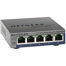 Switch NETGEAR GS105E, 5x 10/100/1000 Prosafe PLUS Switch (management via PC utility), VLAN, QOS, metal casing, External Power Adapter