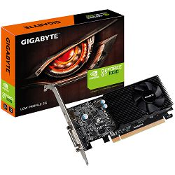 GIGABYTE Video Card GeForce GT 1030 GDDR5 2GB/64bit, 1227MHz/6008MHz, PCI-E 3.0 x16, HDMI, DVI-D, Cooler, Low-profile, Retail