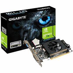 GIGABYTE Video Card GeForce GT 710 DDR3 2GB/64bit, 954MHz/1800MHz, PCI-E 2.0 x16, HDMI, DVI, VGA, Cooler, Low-profile, Retail