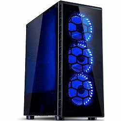 Chassis INTER-TECH CXC2 Gaming Midi Tower, ATX, 1xUSB3.0, 2xUSB2.0, audio, PSU optional, Acrylic side panel, Tempered glass front with 3x Blue Argus L-12025 LED-fans, Dust filters, Black