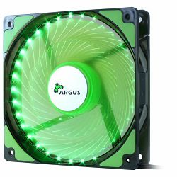 INTER-TECH FAN Argus L-12025, 120mm with 33 GREEN ultra bright LEDs, Vibration-free, Rubberized dampers, Fluid-bearing, 3pin and 4pin Molex, Retail