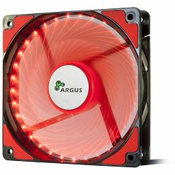 INTER-TECH FAN Argus L-12025, 120mm with 33 RED ultra bright LEDs, Vibration-free, Rubberized dampers, Fluid-bearing, 3pin and 4pin Molex, Retail