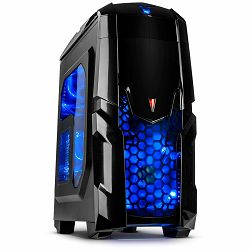 Chassis INTER-TECH Q2 ILLUMINATOR BLUE Gaming Midi Tower, ATX, 2xUSB3.0, 1xUSB2.0, Audio, Card reader, PSU optional, Sidepanel with window, 3x 120mm fans with BLUE LEDs, Dust filters, Black