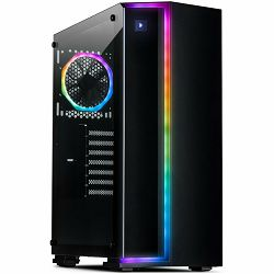 Chassis INTER-TECH S-3906 RENEGADE Gaming Midi Tower, ATX, 2xUSB3.0, 2xUSB2.0, audio, PSU optional, Tempered glass side panel, RGB LED strip in the front, RGB control board, 120mm RGB fan, Dust filter