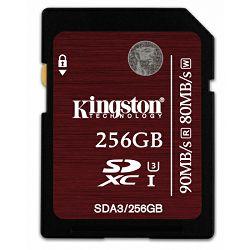 Kingston SDXC, UHS-I, U3, R90/W80, 256GB