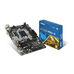 MSI H110M Pro-D, LGA1151, D4,S3,U3, HD, Gb Lan