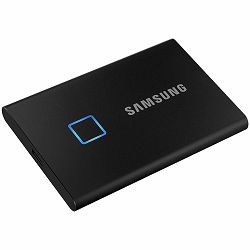 Samsung SSD T7 Touch External 1TB, fingerprint and password security, USB 3.2, 1050/1000 MB/s, included USB Type C-to-C and Type C-to-A cables, 3 yrs, black